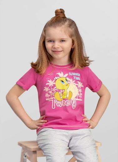 Looney Tunes  Lisanslı Krem Kız Çocuk T-Shirt Pembe